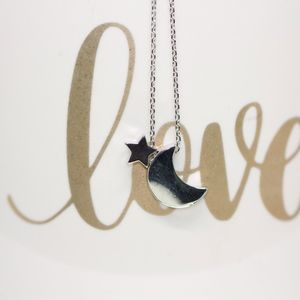 18k Gold Dipped Dainty Star and The Moon Necklace